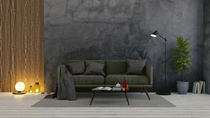 Modern loft  interior of living room,dark  green  sofa on white flooring and dark concrete wall .empty room ,3d rendering