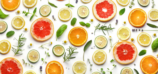 Sliced fruits and herbs