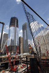 The World Trade Center Site is seen under construction in New York