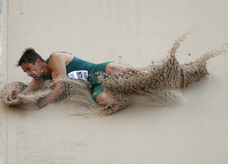 Coertzen of South Africa competes in the men's decathlon long jump event  at 15th IAAF World Championships in Beijing