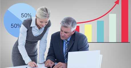 Digital image of business people with file folder
