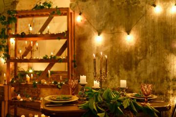 Romantic lunch in retro rustic decorations. Nobody