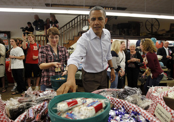 U.S. President Barack Obama selects candy at mast General Store in Boone