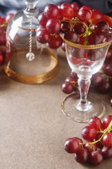 Fresh bunch of dark grapes. Autumn fruit. French and Italian culture. Dark background.