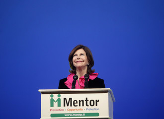 Sweden's Queen Silvia speaks during a charity event in Vilnius