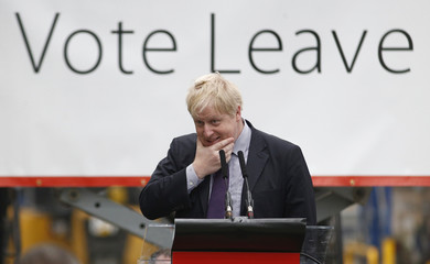 "London Mayor Boris Johnson speaks at a ""Out"" campaign event, in favour of Britain leaving the European Union, at Europa Worldwide freight company in Dartford"