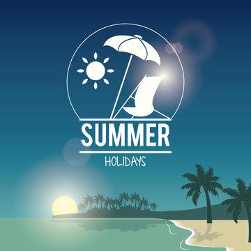 beautiful poster seaside with logo summer holydays vector illustration
