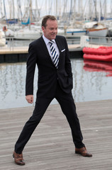 """Actor Kiefer Sutherland poses during a photocall for the television series """"Designated Survivor"""" during the annual MIPCOM television programme market in Cannes"""