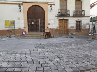 Roadwork in front of Village church