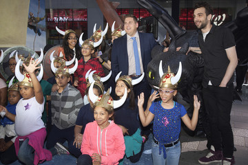 Cast members Jonah Hill and Jay Baruchel pose during a photo opportunity to promote the movie 'How to Train Your Dragon 2' in Times Square in New York
