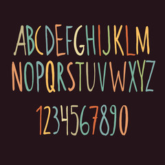 Hand drawn color alphabet made with brush. Vector illustration.