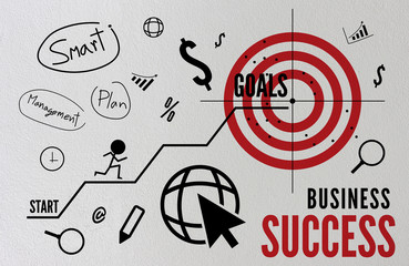 goals in business concept with with text, icons and ornaments brick wall background