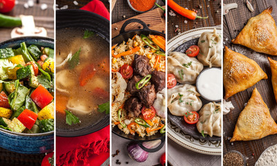 Traditional oriental, Uzbek cuisine, salad, chuchvara, pilaf, manti and samsa, a set of dishes made in one set