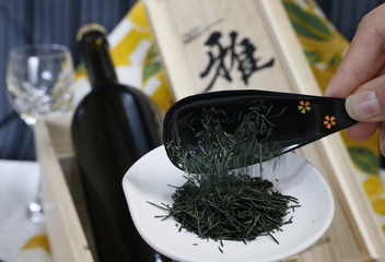 Green tea leaves, which are priced at 315,000 yen per 100g, are pictured at Royal Blue Tea Japan Co in Fujisawa, south of Tokyo