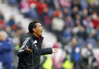 Red Bull Salzburg's coach Ricardo Moniz reacts during their Austrian league soccer match in Salzburg