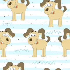 seamless pattern with a dog. Vector Illustration