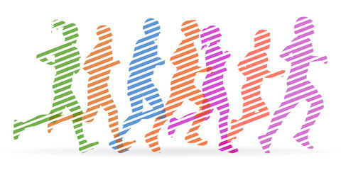 A crowd of people are running - stock vector