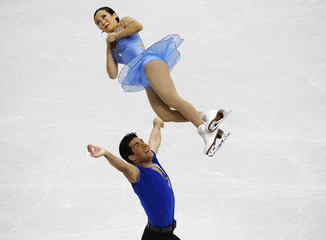 Zhang and Bartholomay compete in the senior pairs short program at the U.S. Figure Skating Championships in Omaha