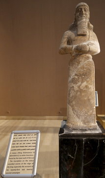 A statue of King Shalmaneser III (824-858 B.C.) in white limestone found by the town wall of Nimrud  is seen in the Iraqi National museum in Baghdad,