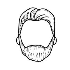 line nice man face with haistyle and beard