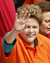 Brazil's President and presidential candidate Dilma Rousseff waves to the crowd during a campaign rally in Osasco