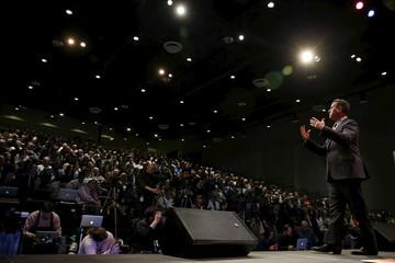 Former Senator of Pennsylvania Rick Santorum speaks at the Iowa Faith and Freedom Coalition's forum in Waukee