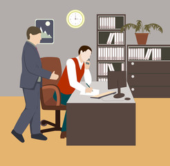 People in room. Office life. Flat style vector illustration. Situation in office. Workplace. Meeting. Two men in room. Office interior.