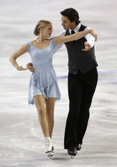 Poje and Weaver of Canada skate in the short dance competition at the Hilton HHonors Skate America in Kent, Washington