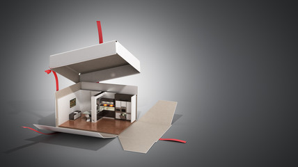 Concept apartment as a gift Kitchen interior in an open box 3d render on grey