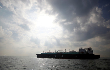 FILE PHOTO - A LNG carrying vessel sails at Tokyo Bay, offshore of Yokosuka
