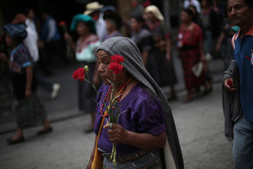 Indigenous women of the Ixil region walk to the Constitutional Court for a demonstration against the suspension of the trial of former Guatemalan dictator Efrain Rios Montt, in Guatemala City