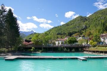 Valcellina , Lago di Barcis  Molo con Montagna