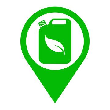 Icono plano localizacion bidon con hoja verde