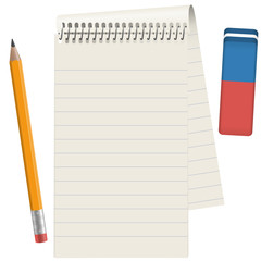Paper pad with pencil and eraser