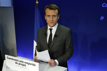 Former French minister Emmanuel Macron, head of the political movement En Marche !, or Forward !, and candidate for the 2017 French presidential election, attends a news conference at his headquarters in Paris