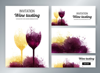 wine glasses with background stains. Promotion cards and banners
