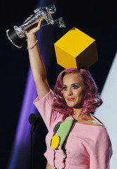 Katy Perry accepts the award for video of the year for Firework at the 2011 MTV Video Music Awards in Los Angeles