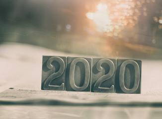 """""""2020"""" rusty metal letters"""