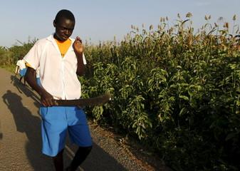 A pupil walks home from the Senator Barack Obama primary school in the U.S. President Barack Obama's ancestral village of Nyang'oma Kogelo, west of Kenya's capital Nairobi