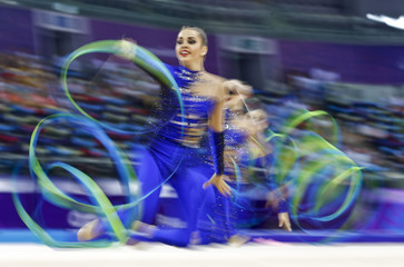 Members of Ukraine's team compete during the rhythmic gymnastics team qualification at the 1st European Games in Baku