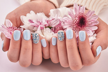 Fototapete - White and pink chrysanthemums, gentle decoration for manicure.