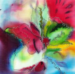 Яркий сказочный цветок, абстрактная иллюстрация растения