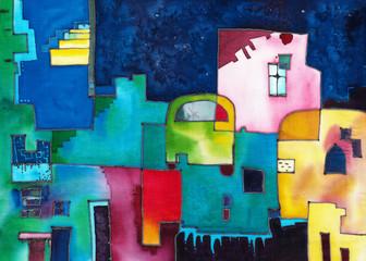 Абстрактная иллюстрация города, в ярких синих тонах с контрастными красками