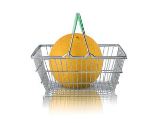 Organic galia melon in wired supermat basket