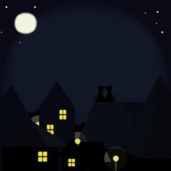 Cats on the roofs of the night city