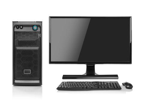 Modern desktop PC computer isolated.