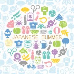 日本の夏 円形のアイコンセット