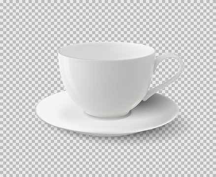 White ceramic cup. Realistic vector cup on isolated transparent background.