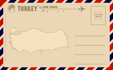 Vintage postcard with map of Turkey