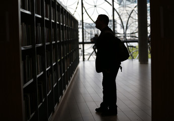 A man browses books after the opening of Birmingham Library in central England